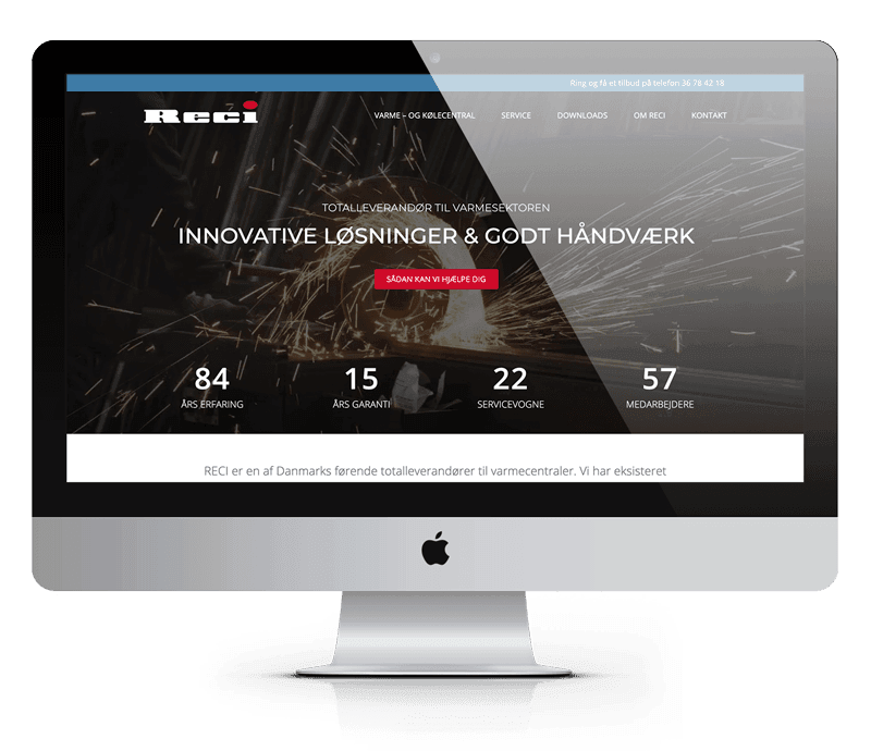 RECI hjemmeside efter design