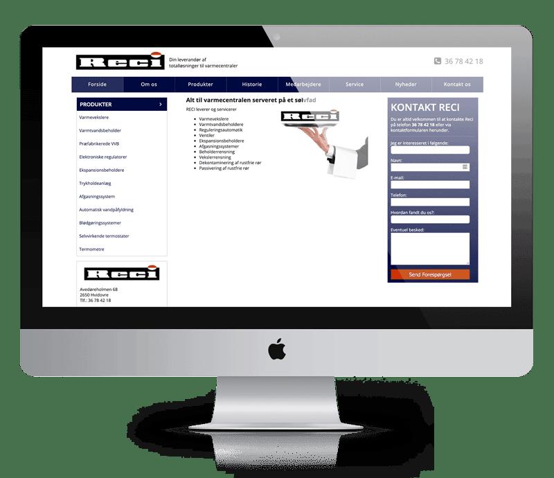 RECI inden redesign af hjemmeside